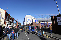 Pictured: Goodison Road outside the stadium. Sunday 16 February 2014<br />