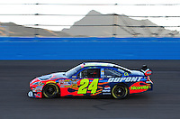 Nov. 7, 2008; Avondale, AZ, USA; NASCAR Sprint Cup Series driver Jeff Gordon during qualifying for the Checker Auto Parts 500 at Phoenix International Raceway. Mandatory Credit: Mark J. Rebilas-