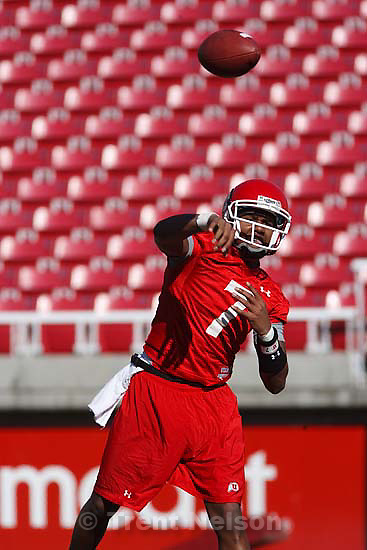 Salt Lake City - Utah quarterback Terrance Cain at University of Utah college football practice Thursday March 12, 2009 at Rice-Eccles Stadium.