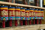 Prayer wheels spin in the Paro Valley, Bhutan