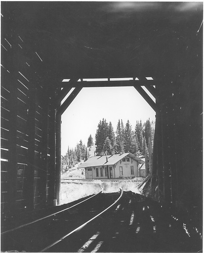 View from inside snowshed toward D&amp;RG Cumbres depot building.<br /> D&amp;RGW  Cumbres, CO