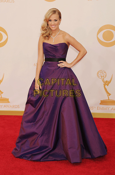 Carrie Underwood<br /> The 65th Annual Primetime Emmy Awards - Arrivals held at The Nokia Theatre L.A. Live in Los Angeles, California, USA.<br /> September 22nd, 2013<br /> full length dress purple strapless hand on hip<br /> CAP/ROT/TM<br /> &copy;Tony Michaels/Roth Stock/Capital Pictures