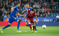 Dominic Solanke of Liverpool with Vicente Iborra (left) & Leonardo Ulloa of Leicester City during the football league cup Carabao Cup 3rd round match between Leicester City and Liverpool at the King Power Stadium, Leicester, England on 19 September 2017. Photo by Andy Rowland.