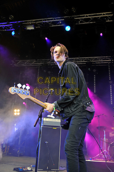 Chilli Jesson of Palma Violets<br /> performing at Glastonbury Festival, Worthy Farm, Pilton, Somerset, <br /> England, UK, 28th June 2013.<br /> half length music gig concert gig live on stage playing guitar <br /> CAP/MAR<br /> &copy; Martin Harris/Capital Pictures