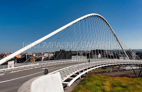 The Pont de l'Observatoire bridge in Liège, designed by Santiago Calatrava (Belgium, 30/09/2011)