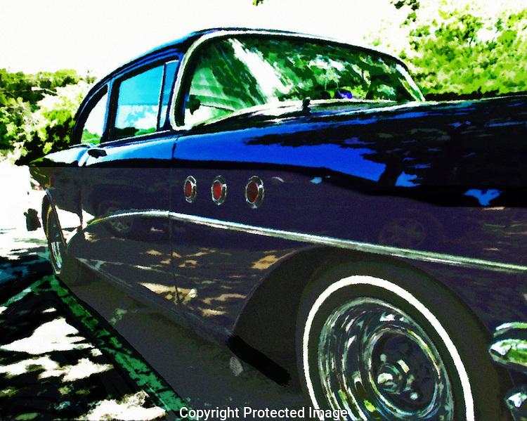 Blue custom 56 Buick