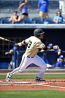 Vanderbilt Commodores infielder Zander Wiel (43) at bat during a game against the Indiana State Sycamores on February 21, 2015 at Charlotte Sports Park in Port Charlotte, Florida.  Indiana State defeated Vanderbilt 8-1.  (Mike Janes/Four Seam Images)
