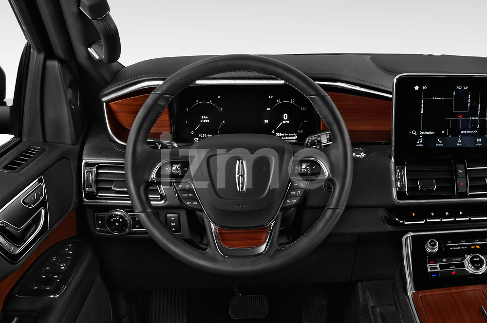 Car pictures of steering wheel view of a 2018 Lincoln Navigator Select L Extended 4x2 5 Door SUV