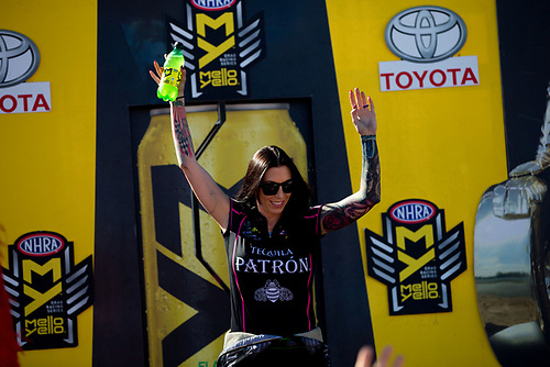 NHRA Mello Yello Drag Racing Series<br /> NHRA Toyota Nationals<br /> The Strip at Las Vegas Motor Speedway<br /> Las Vegas, NV USA<br /> Sunday 29 October 2017<br /> Alexis Dejoria, Patron Tequila, Toyota, Camry, Funny Car<br /> <br /> World Copyright: Jason Zindroski<br /> HighRev Photography