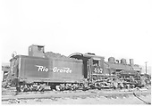Right side view of K-37 #497.<br /> D&amp;RGW  Durango, CO  Taken by Payne, Andy M. - 8/30/1959