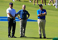 Keith Pelley (Centre)(CEO European Tour) on the 1st during the Matchplay Final of the ISPS Handa World Super 6 Perth at Lake Karrinyup Country Club on the Sunday 11th February 2018.<br /> Picture:  Thos Caffrey / www.golffile.ie<br /> <br /> All photo usage must carry mandatory copyright credit (&copy; Golffile | Thos Caffrey)