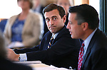 Nevada Attorney General Adam Laxalt, left, and Gov. Brian Sandoval work in a Board of Examiners meeting in Carson City, Nev., on Tuesday, Feb. 10, 2015. <br /> Photo by Cathleen Allison