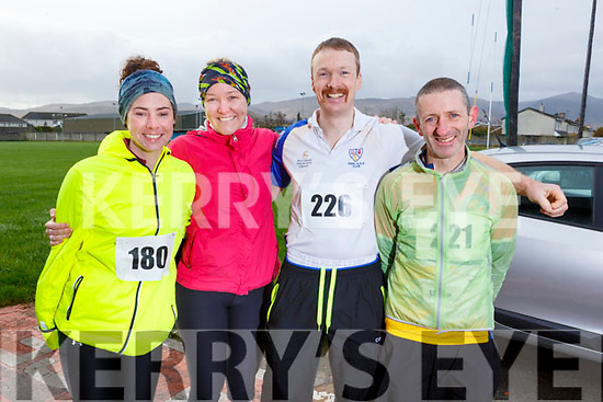 Ready for their run in the Kerins O'Rahillys GAA Club 10k/5k race to honour local man Francie Quill at the clubhouse on Sunday. L to r: Rachel O'Sullivan (Sligo), Grainne Blunt (Meath), Rory Prendergast (Keel) and Noel Lawlor (Castlemaine).