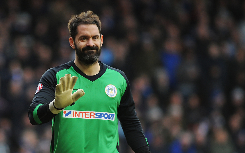 Wigan Athletic's Scott Carson in action during todays match  <br /> <br /> Photographer Kevin Barnes/CameraSport<br /> <br /> Football - The Football League Sky Bet Championship - Blackpool v Wigan Athletic - Saturday 28th February 2015 - Bloomfield Road - Blackpool<br /> <br /> &copy; CameraSport - 43 Linden Ave. Countesthorpe. Leicester. England. LE8 5PG - Tel: +44 (0) 116 277 4147 - admin@camerasport.com - www.camerasport.com
