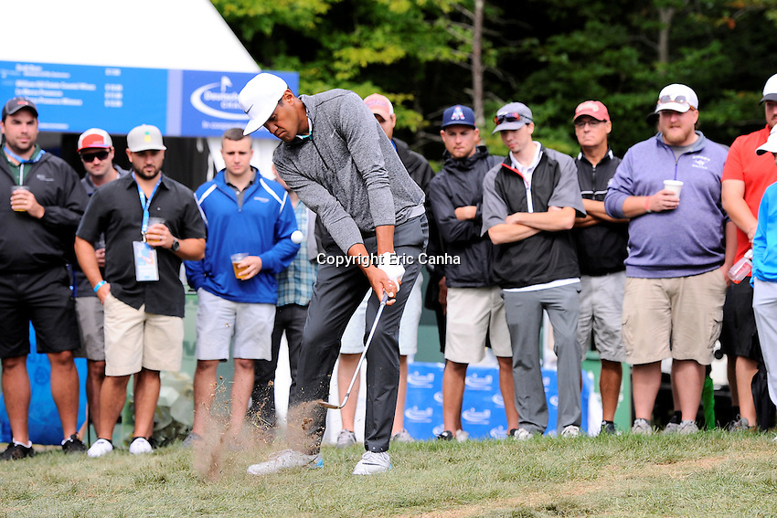 Monday, September 5, 2016:  Tony Finau hits his ball back onto the seventh green during the final round of the Deutsche Bank Championship tournament held at the Tournament Players Club, in Norton, Massachusetts.  Eric Canha/Cal Sport Media