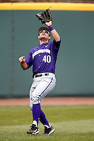 Joe Meggs #40 of the Washington Huskies during a baseball game against the UCLA Bruins at Jackie Robinson Stadium on March 17, 2013 in Los Angeles, California. (Larry Goren/Four Seam Images)