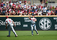 NWA Democrat-Gazette/CHARLIE KAIJO Arkansas outfielder Dominic Fletcher (24) makes a catch during the second game of the NCAA super regional baseball, Sunday, June 10, 2018 at Baum Stadium in Fayetteville. Arkansas fell to South Carolina 5-8.