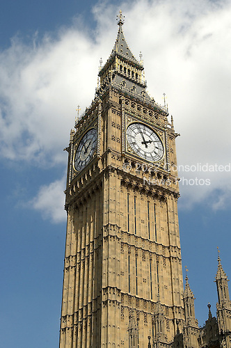 "London, GBR - August 7, 2005 -- The Clock Tower of the Palace of Westminster, popularly known as ""Big Ben"".  This view is looking from Abingdon Street towards the River Thames.  .Credit: Ron Sachs / CNP"