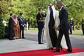 United States President Barack Obama (R) welcomes Sheikh Mohamed bin Zayed Al Nahyan, Crown Prince of Abu Dhabi, to the White House May 13, 2015 in Washington, DC. Obama is hosting a summit of the Persian Gulf countries in Washington and at Camp David tomorrow.  <br /> Credit: Chip Somodevilla / Pool via CNP
