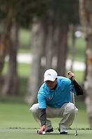 Zhang Lian-wei (CHN) on the 4th green during Round 2 of the UBS Hong Kong Open 2012, Hong Kong Golf Club, Fanling, Hong Kong. 16/11/12...(Photo Jenny Matthews/www.golffile.ie)