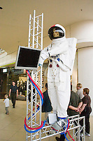 Manufaktura entertainment and shopping center mannequin in spacesuit with computer. Balucki District Lodz Central Poland
