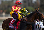 November 2, 2019: Iridessa, ridden by Wayne Lordan, wins the Maker's Mark Breeders' Cup Filly & Mare Turf on Breeders' Cup World Championship Saturday at Santa Anita Park on November 2, 2019: in Arcadia, California. Carolyn Simancik/Eclipse Sportswire/CSM