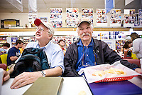 Physicists Bill Hargrove (L) and Bill Hooke are regulars at Sutton's Drugstore.
