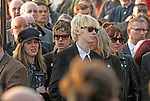 The  funeral of the late Prodigy singer Keith Flint at St Marys Church in Bocking,  Essex today. Mourners leaving the service.Rachel Howlett and Gene Gallagher can be seen leaving.