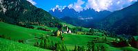 St. Magdalena, Dolomites (Geisler Peaks in background), Sudtirol region, Northern Italy
