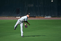 Akron RubberDucks center fielder Bradley Zimmer (6) throws the ball in during the second game of a doubleheader against the Bowie Baysox on June 5, 2016 at Prince George's Stadium in Bowie, Maryland.  Bowie defeated Akron 12-7.  (Mike Janes/Four Seam Images)