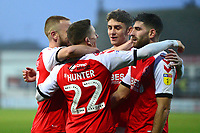 Fleetwood Town's Ashley Hunter celebrates scoring his side's second goal with his team-mates<br /> <br /> Photographer Richard Martin-Roberts/CameraSport<br /> <br /> The EFL Sky Bet League One - Fleetwood Town v Doncaster Rovers - Wednesday 26th December 2018 - Highbury Stadium - Fleetwood<br /> <br /> World Copyright © 2018 CameraSport. All rights reserved. 43 Linden Ave. Countesthorpe. Leicester. England. LE8 5PG - Tel: +44 (0) 116 277 4147 - admin@camerasport.com - www.camerasport.com