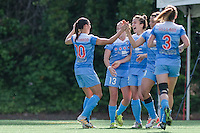 Seattle, WA - Sunday, May 22, 2016: Chicago Red Stars forward Jennifer Hoy (2) celebrates her second goal of the game, during a regular season National Women's Soccer League (NWSL) match at Memorial Stadium. Chicago Red Stars won 2-1.