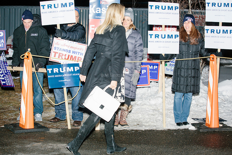 Ivanka Trump greets people outside the polling area in the final hours of primary voting at Bedford High School in Bedford, New Hampshire, on Tues., Feb. 10, 2016.