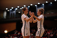 Leah Gubb (right) congratulates Hannah Kraakman on her goal during the international women's futsal match between the NZ Futsal Ferns and New Caledonia at Baypark Arena in Mount Maunganui, New Zealand on Thursday, 14 September 2017. Photo: Dave Lintott / lintottphoto.co.nz