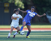 Boston Breakers forward Sydney Leroux (2) attempts to control the ball as Western New York Flash midfielder Angela Salem (6) defends. In a National Women's Soccer League (NWSL) match, Boston Breakers (blue) tied Western New York Flash (white), 2-2, at Dilboy Stadium on August 3, 2013.