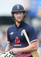 England's Ben Stokes departs after his dismissal. New Zealand Blackcaps v England. One Day International Cricket. Seddon Park, Hamilton, New Zealand on Sunday 25 February 2018.<br /> <br /> Copyright photo: &copy; Bruce Lim / www.photosport.nz
