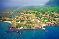 Aerial view of Kalaupapa Peninsula and settlement with rainbow. Molokai, Hawaii