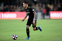 LOS ANGELES, CA - OCTOBER 29: Brian Rodriguez #17 of the Los Angeles FC dribbles the ball during a game between Seattle Sounders FC and Los Angeles FC at Banc of California Stadium on October 29, 2019 in Los Angeles, California.