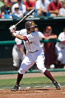 Arizona State's Deven Marrero in Game 4 of the NCAA Division One Men's College World Series on Monday June 21st, 2010 at Johnny Rosenblatt Stadium in Omaha, Nebraska.  (Photo by Andrew Woolley / Four Seam Images)