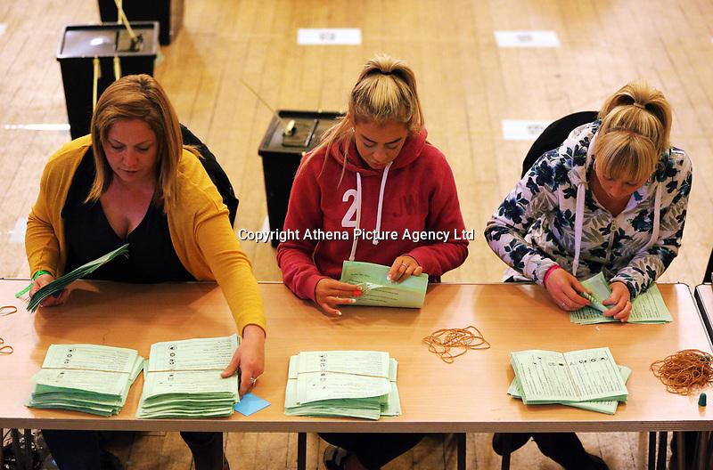 Pictured: Counters are going through ballots. Friday 09 June 2017<br />