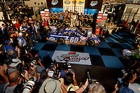 Nov 12, 2005; Phoenix, Ariz, USA;  Nascar Busch Series driver Carl Edwards (60) in victory lane after winning the Arizona 200 at Phoenix International Raceway. Mandatory Credit: Photo By Mark J. Rebilas