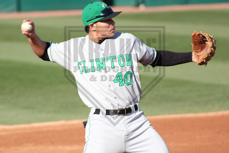 APPLETON - APRIL 2011: Stefen Romero (40) of the Clinton LumberKings, Class-A affiliate of the Seattle Mariners, during a game on April 29, 2011 at Fox Cities Stadium in Appleton, Wisconsin. (Photo by Brad Krause) ........