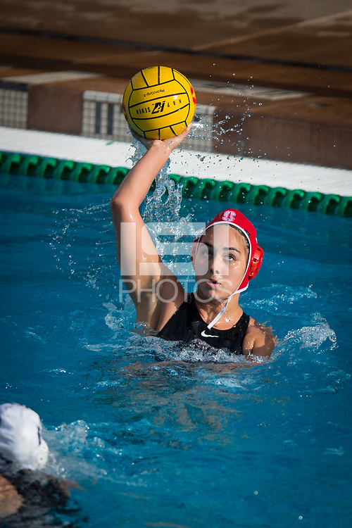 STANFORD, CA - February 4, 2018: Kayla Constandse at Avery Aquatic Center. The Stanford Cardinal defeated Long Beach State 14-2.