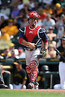Boston Red Sox catcher Humberto Quintero (40) during a Spring Training game against the Pittsburgh Pirates on March 12, 2015 at McKechnie Field in Bradenton, Florida.  Boston defeated Pittsburgh 5-1.  (Mike Janes/Four Seam Images)