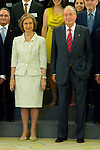 12.07.2012. King Juan Carlos I of Spain and Queen Sofia of Spain attend  to the Board of Trustees Spanish Committee of the United World Colleges, Sponsors Scholarship and scholarship students, at the Royal Palace of La Zarzuela. In the image Queen Sofia and King Juan Carlos I  (Alterphotos/Marta Gonzalez)