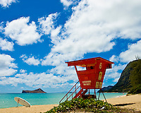 Lifeguard watches over remote windward Oahu beach