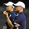 Long Island coaches Mike Stanley (Carey HS), left, and Sal Ciampi, Jr. (East Islip HS) observe the action during the fourth quarter of the 20th annual Empire Challenge against New York City at Hofstra University on Tuesday, June 23, 2015.<br /> <br /> James Escher