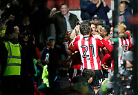 GOAL - Yoann Barbet of Brentford celebrates his goal during the Sky Bet Championship match between Brentford and Leeds United at Griffin Park, London, England on 4 November 2017. Photo by Carlton Myrie.