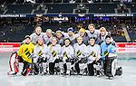 Solna 2014-03-15 Bandy SM-final Damer Kareby IS - AIK  :  <br /> AIK spelare laguppst&auml;llning fotograferas innan matchen<br /> (Foto: Kenta J&ouml;nsson) Nyckelord:  SM SM-final final dam damer Kareby AIK grupp