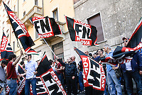 Milan, neo-fascist demonstration during the international meeting organized by Forza Nuova..Milano, manifestazione neofascista durante il meeting internazionale organizzato da Forza Nuova